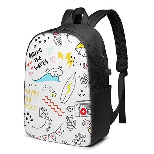 Laptop Backpack with USB Port Flower Doodle Sun Cloud Music, Business Travel Bag, College School Computer Rucksack Bag for Men Women 17 Inch Laptop Notebook