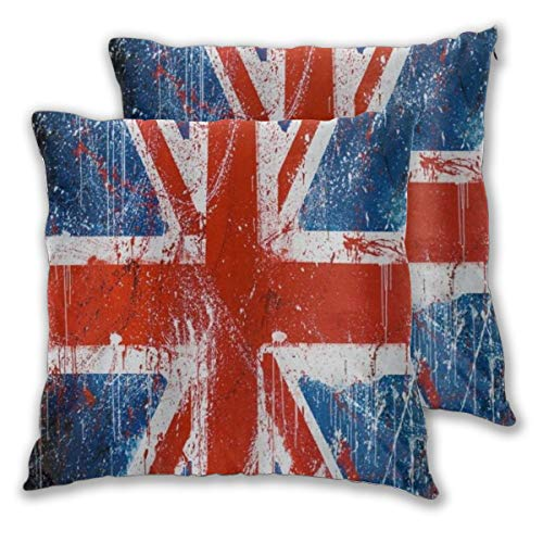 MOBEITI Square Cushion Cover 60x60cm 2 pieces Set,Retro The Union Flag Of UK Union Jack Red Navy Blue,decorative Throw Pillow Case for Couch Sofa Chair Bed Home office Decor