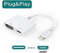 Adaptador HDMI, Cable HDMI, Adaptador AV Digital de 1080P con Puerto Hembra, Conector de Pantalla de sincronización HDMI Compatible con Pad/Phone XS/XR/X, etc. [Se Necesita Fuente de alimentación]