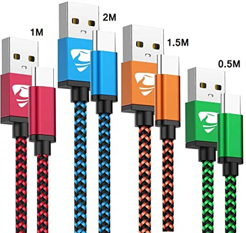 Rephoenix USB C Kabel, 4Pack Typ C Ladekabel Nylon USB C Ladekabel und Datenkabel Fast Charge Schnellladekabel für Samsung Galaxy A20e A10e A50 A70 A40 S8 S9 S10 S20 Plus Note 9 8, LG,Huawei,Sony XZ