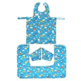 Bib-On Plus, Full-Coverage Bib and Apron Combination for Infant, Baby, Toddler Ages 0-4. (Planes)