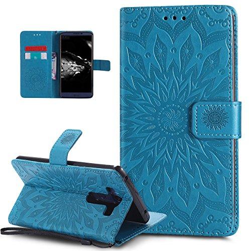 LG V10 Case,LG V10 Cover,Embossing Mandala Flowers Sunflower Pattern Premium PU Leather Magnetic Flip Folio Kickstand Wallet Case with Card Slots Protective Case Cover for LG V10,Blue