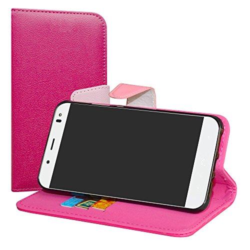 LiuShan BQ Aquaris VS Plus/Aquaris V Plus Hülle, Brieftasche Handyhülle Schutzhülle PU Leder mit Kartenfächer und Standfunktion für BQ Aquaris VS Plus/Aquaris V Plus (5,5 Zoll) Smartphone,Pink