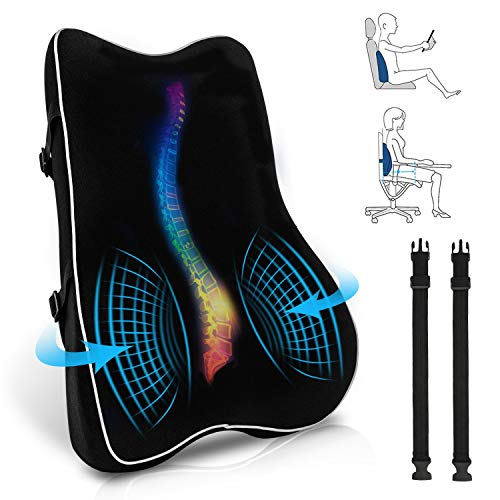 Lumbar Support Pillow, Sanlinkee Memory Foam Back Cushion for Lower Back Pain Relief, Ergonomic Backrest for Office Chair, Car Seat, Computer Chair and Wheelchair