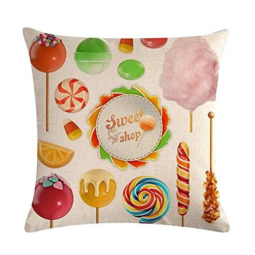 MayBlosom - Federa per cuscino, 45,5 x 45,8 cm, colore: rosa, gelato, cioccolato, buscuit, casa, in poliestere, federa decorativa per cuscino per divano
