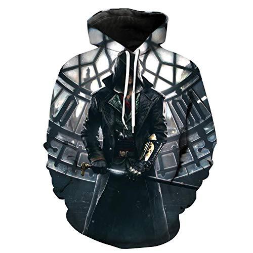 Xdai Felpe con Cappuccio Felpe Unisex 3D Stampare HD Pullover Felpa Uomo Maniche Lunghe Coulisse Tasche Adolescenti Tops Felpa Stampato Pullover di Coppia Black Friday Assassin's Creed