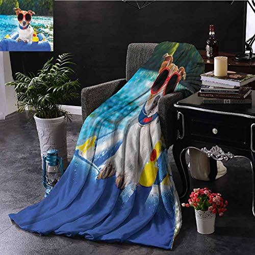 Funny Sherpa Throw Blanket Jack Russell with Sunglasses Sofa Camping Reading Car Travel W70 xL84