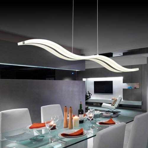 LightInTheBox Acrylic LED Pendant Light Wave Shape Chandeliers Modern Island Dining Room Lighting Fixture with Max 40W Chrome Finish 3400 LM Light Source=Warm White,Voltage=90-240V Bulb Included (1PC)