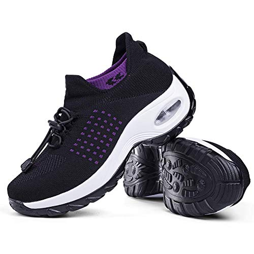 Women's Walking Shoes Sock Sneakers - Mesh Easy Lace Air Cushion Lady Girls Modern Jazz Dance Platform Nursing Shoes Purple&Black,8
