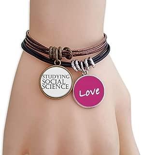 Short Phrase Studying Social Science Love Bracelet Leather Rope Wristband Couple Set
