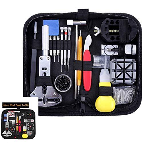 SEESEE.U Uhrenreparaturset mit Tragetasche, Uhrenarmband-Verbindungsstift-Werkzeugsatz, Uhrenbatteriewechsel-Werkzeugsatz zum Reparieren verschiedener Uhren (151 Teile)