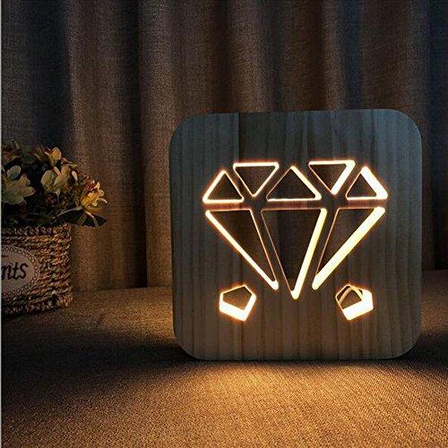 OOFAY Night Light@ 3D Veilleuse Illusion Lampe Sculpture Art du Bois Lampe De Tableau Créatif Motif De Diamant LED Lumières/Lumière d'alimentation D'usb+Ligne De Données(avec Interrupteur)