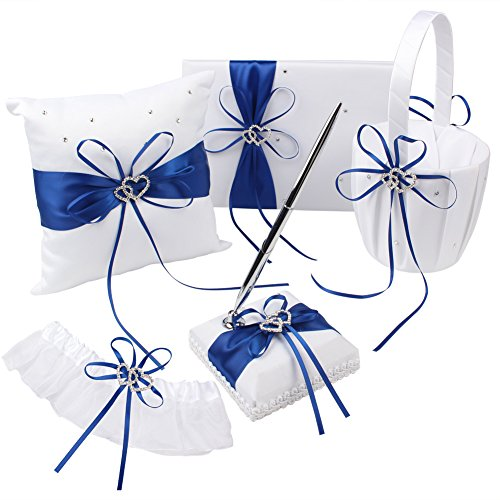 OurWarm Wedding Guest Book + Pen Set + Flower Basket + Ring Pillow + Garter, White Cover, Double Heart Rhinestone Decor Royal Blue / Deep Blue Ribbon Bowknot Elegant Wedding Ceremony Party Favor