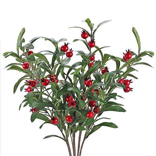 NAHUAA 4PCS Plantas Artificiales Arbustos Artificiales Rama de Olivo Decoración Flores para jarrón Hogar Jardín Balcón Mesa Fiesta Boda Decoración de