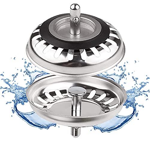 Filtre évier Cuisine, Bouchon d evier, Couvercle de filtre évier cuisine, Filtre à évier en acier inoxydable, Bouchon evier inox, Diamètre de 80 mm