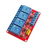 Vogurtime 4 Channel 5V Relay Module with Optocoupler Isolation Support High and Low Level Trigger Relay Red Board