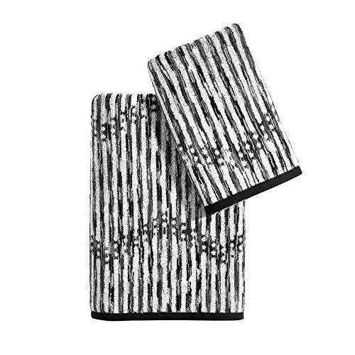 DKNY Dot Chevron 100% Cotton Bath Towel, 4 Piece Set 2 Bath 2 Hand, Charcoal