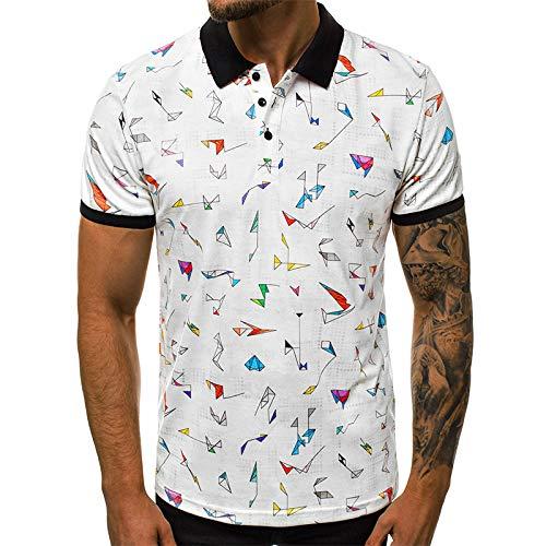 Men's Tipped Polo Shirt 3D Gedruckt Hip-Hop-Stil Slim-Fit Standkragen Baumwolle Herrenbekleidung, Origami Muster Weiß Sommer Freizeit Shirt, Herren Mode Sport Schwören, Casual Classic, Komfortabel,