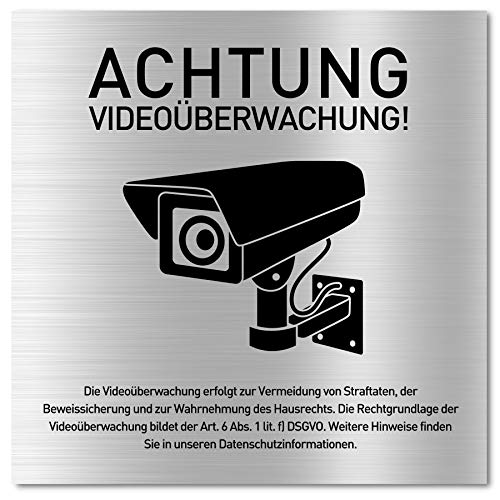 Schild Videoüberwachung (15 x 15 cm klein) inkl. DSGVO Hinweis - Alu Warnschild Kamera Überwachung - ideal zur Kamera Attrappe - Aluminium Schild - Achtung Videoüberwachung für Privatgrundstück