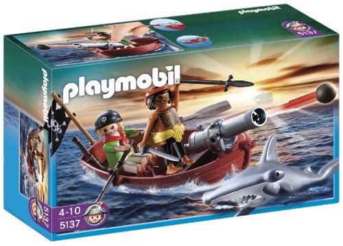 PLAYMOBIL - Bote Pirata con tiburón 5137