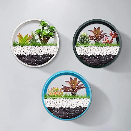 Set misto colorato di 3 fioriera da parete sospesa vaso da fiori in metallo cerchio porta piante per interni contenitore per piante verticali per decorazioni da parete (15cm,Verde + Blu + Bianco)