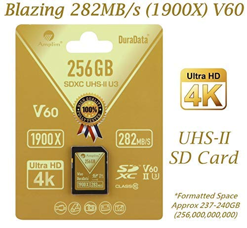 Amplim 128GB UHS-II SD Card. Blazing Fast Read 285MB/S (1900X) Class 10 U3 V60 UHS-2 SDXC Memory Card for Professional 4K 8K Video and UHSII Cameras. 128 GB / 128G SD XC Card TF Flash