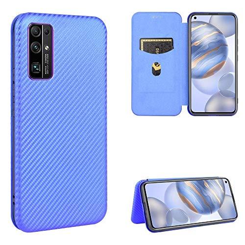 PHONETABLETCASE+ / for HUAWEI Honor 30 Carbon Fiber Texture Magnetic Horizontal Flip TPU + PC + Funda de cuero PU con ranura tarjeta Protección de la cubierta de la cubierta a prueba ( Color : Azul )