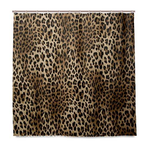 funnyy Duschvorhang mit Leopardenmuster, wasserdicht, Polyester, mit Haken für Zuhause, 183 x 183 cm