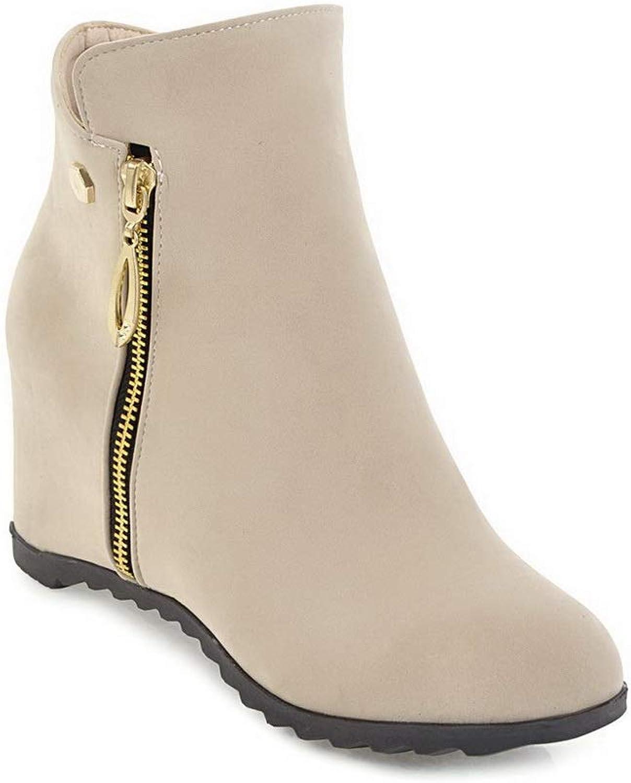 BalaMasa Womens Heighten Inside Zipper Imitated Suede Boots ABL10864