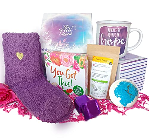 SHE FEELS LOVED Self Care Gifts for Women – Stress Relief Gift Basket for Mom, Wife, Friends, 7-in-1 Self Care Kit, Best Gift Box for Women, Get Well Gift Basket, Unique Gift Set for Mom