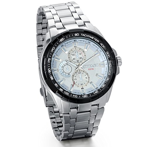 JewelryWe Herren Armbanduhr Analog Quarz Klassische Fashion Business Casual Edelstahl Band Sport Uhr mit Weiss Zifferblatt und Silber Gauge-Nadeln