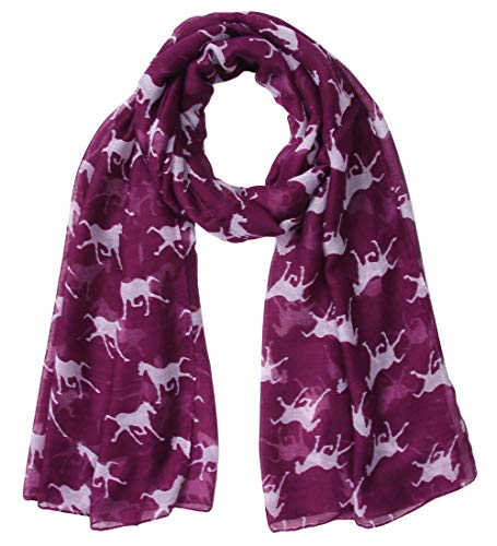Sannea Women's Animal Print Chiffon Scarf Cute Horses Fashion Scarves for Girl