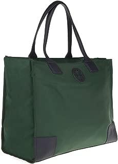 Tory Burch Ella Tote Handbag Snap Nylon Leather TB Logo