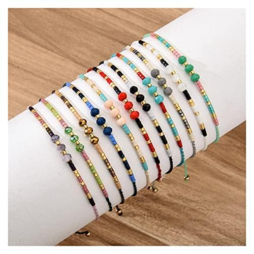 12 piezas / lote para mujeres y hombres Hecho a mano de tejido bohemio de la cuerda ajustable de la cuerda de la cuerda de la cadena de cristal de la pulsera creativa de la pulsera de la pulsera del r