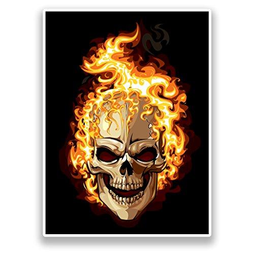2x Pegatinas de vinilo de calavera en llamas Horror Scary # 7179