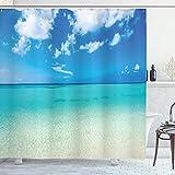 ABAKUHAUS Sommer Duschvorhang, Ozean Dreamy Sea Beach, Wasser Blickdicht inkl.12 Ringe Langhaltig Bakterie & Schimmel Resistent, 175 x 200 cm, Türkis Blau