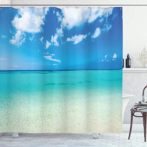 ABAKUHAUS Sommer Duschvorhang, Meer verträumten Meer Strand, mit 12 Ringe Set Wasserdicht Stielvoll Modern Farbfest & Schimmel Resistent, 175x200 cm, Türkis Blau