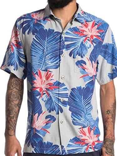 Tommy Bahama Island Zone Blooming Palms Silk Blend Camp Shirt (Color: Breeze Block, Size L)