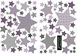 greenluup Wandsticker Wandaufkleber Sterne Lila Violett Flieder Wanddeko Kinderzimmer Babyzimmer(Sterne Lila)