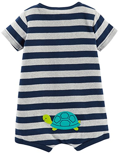 Simple Joys by Carter's Baby Boys' 3-Pack Snap-up Rompers, Red Stripe/White Sailboats/Navy Stripe, 12 Months