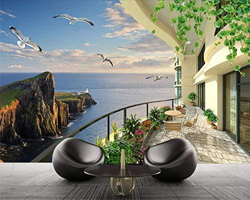 JINHECH 3D Foto Tapete Zimmer mit Meerblick im europäischen Stil Wohnzimmer TV Hintergrund Home Decor Selbstklebend Wandbild Tapete Für Schlafzimmer Wände 450x300 cm