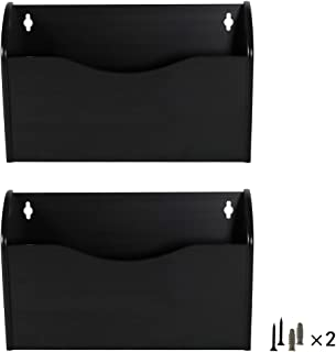 PAG 2 Pockets Hanging Wall File Holder Wall Mount Mail Organizer, Black