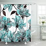 Emvency 72'x72' Shower Curtain Waterproof Blue Flower Floral Teal Pattern with Roses Watercolor Colorful Abstract Arrangement Black Home Decor Polyester Fabric Adjustable Hook Set