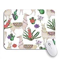 ROSECNY 可愛いマウスパッド ペルー水彩画ラマとサボテンアルパカアメリカ動物滑り止めゴムバッキングノートブック用マウスパッドコンピューターマウスマット