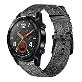 TRUMiRR Compatibile per Samsung Gear S3 Cinturino, Cinturino Sportivo in Nylon Intrecciato a sgancio rapido 22mm Cinturino in Vera Pelle per Samsung Galaxy Watch 46mm/Galaxy Watch3 45mm