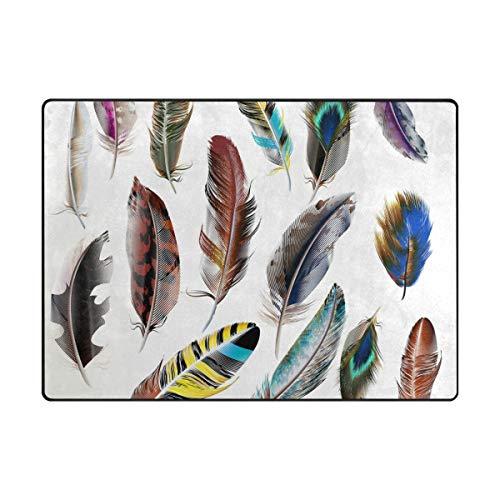 MALPLENA Animal Plumes Zone Tapis antidérapant Pad Moyen d'entrée Paillasson Tapis de Sol Chaussures Grattoir, Polyester, 1, 63 x 48 inch