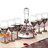 SHTSH Sht Vino Decanter- sin Plomo Cristal de Cristal Rojo Vino de la Jarra, Perfecto for la Boda y Regalos Casa 【Decanter * 1 + Copa de Vino * 6】 (Color : Clear)