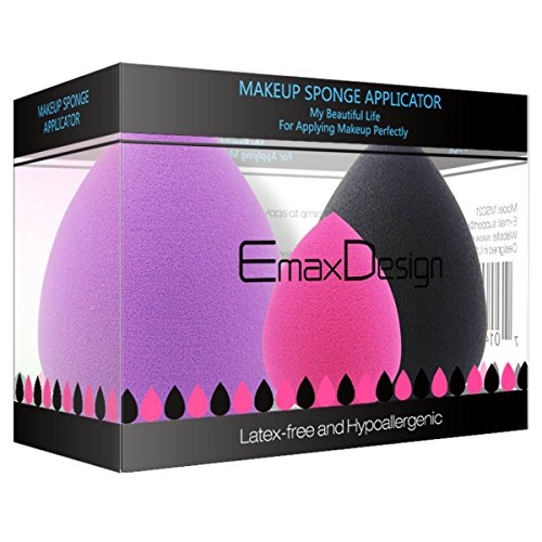 [Updated Version] EmaxDesign 3 Piece Makeup Blender Sponge Set, Foundation Blending Blush Concealer Eye Face Powder Cream Cosmetics Beauty Makeup Sponges. latex free, non-allergenic and odour free.