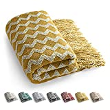 Manta Manta para sofá Manta de sofá Elegante Borlas Manta de Cama Manta Decorativa para Ver la Televisión en la Silleta, Sofá y Cama - Regalos-140x220cm (Amarillo)