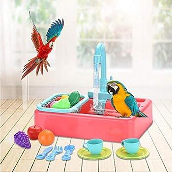 Baignoire mangeoire pour oiseaux - Perroquet Baignoire Automatique Piscine Robinet Cage À Oiseaux Salle De Bains Jouets